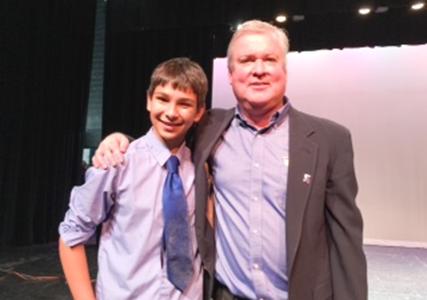 Brewster's Got Talent overall winner, Riley Krisch, and chairman, Joseph Cavanagh