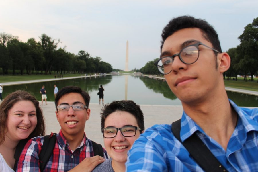 Victor and three page program participants enjoy their time on the DC mall.
