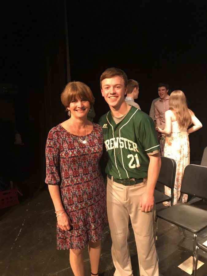 Ms. Jeannine Wool and senior Brendan Brooks at the NHS induction ceremony.