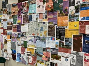 A collection of student-made college fliers indicates where everyone's thoughts are during this time.