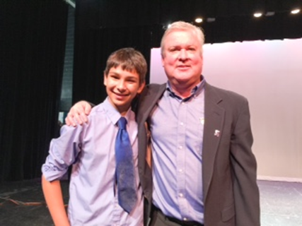 Brewster's Got Talent overall winner, Riley Krisch, and chairman, Joseph Cavanagh