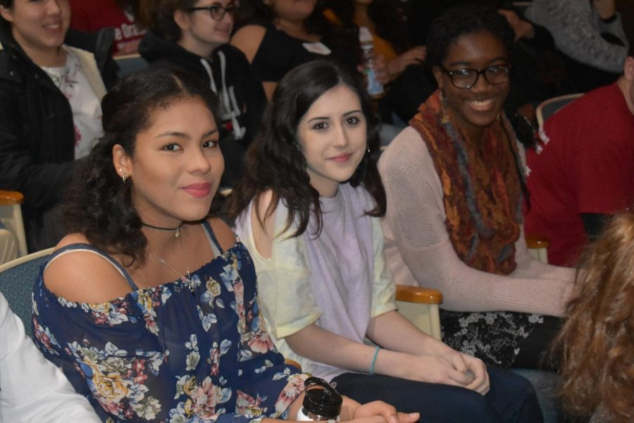 Editors Noelle Castro, Emma Castellano, and Valerie Simpri absorb the wisdom of professionals at the Byram Hils Journalism Conference.
