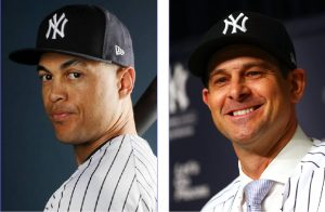 Above left, recent acquisition Giancarlo Stanton raises some early questions, whereas Yankee manager Aaron Boone (above right) fends off the critics where he can.