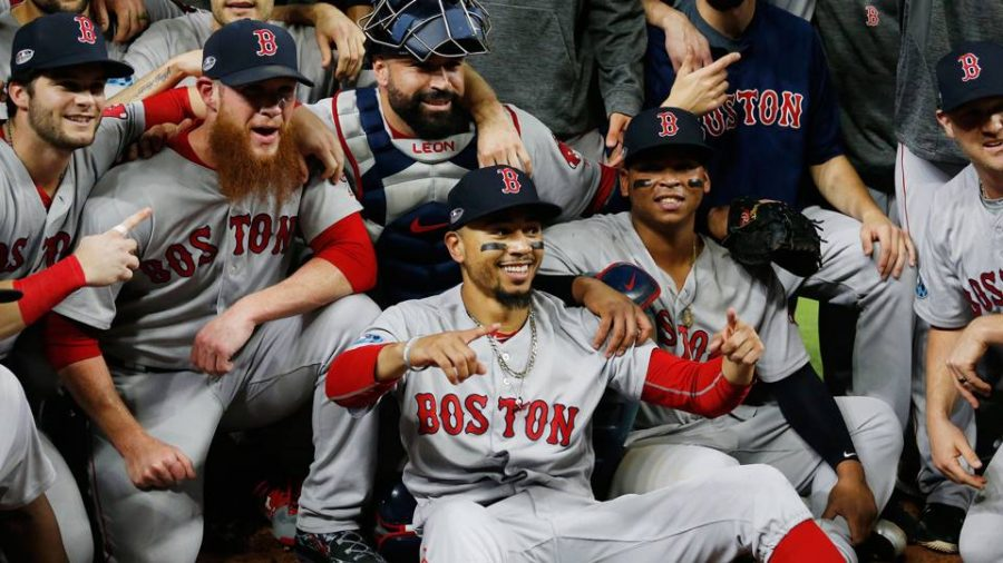 The+2018+Boston+Red+Sox+celebrate+a+strong+work+ethic%2C+teamwork%2C+and+an+unbeatable+streak+that+everyone+saw+coming.++%28Photo+courtesy+Sporting+News%29