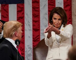 "The players are all here:  Speaker of the House Nancy Pelosi ""congratulates"" president Donald Trump on his decision to shut down the government."