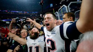 New England Patriots and fans celebrate the world's most boring Super Bowl ever, and yet all of us watched.  Clearly, the 103 million viewers were not the winners in this scenario.  Photo courtesy CNN