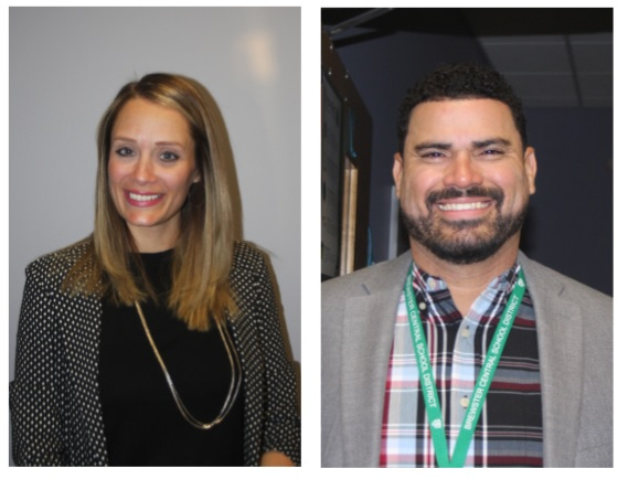 Who are these people?  We got to know them!  They're our newest administrators: Lauren Cole, assistant principal (left) and Carlos Rodriguez, assistant principal (right).