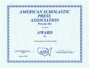 Bear Facts Take First Place in American Scholastic Press Association Awards