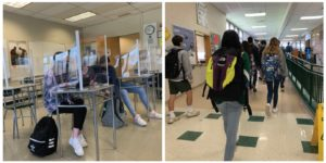 Brewster's doors opened wide after Spring Break, combining cohorts and increasing in-person attendance. Changes in the building included plexiglass barriers, traffic patterns, and increased energy.